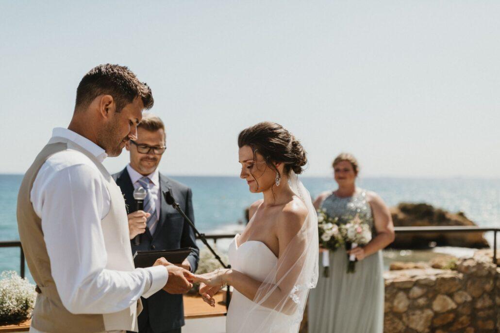 Castell de Tamarit Just Married Barcelona Destination Wedding Ceremony Sea views