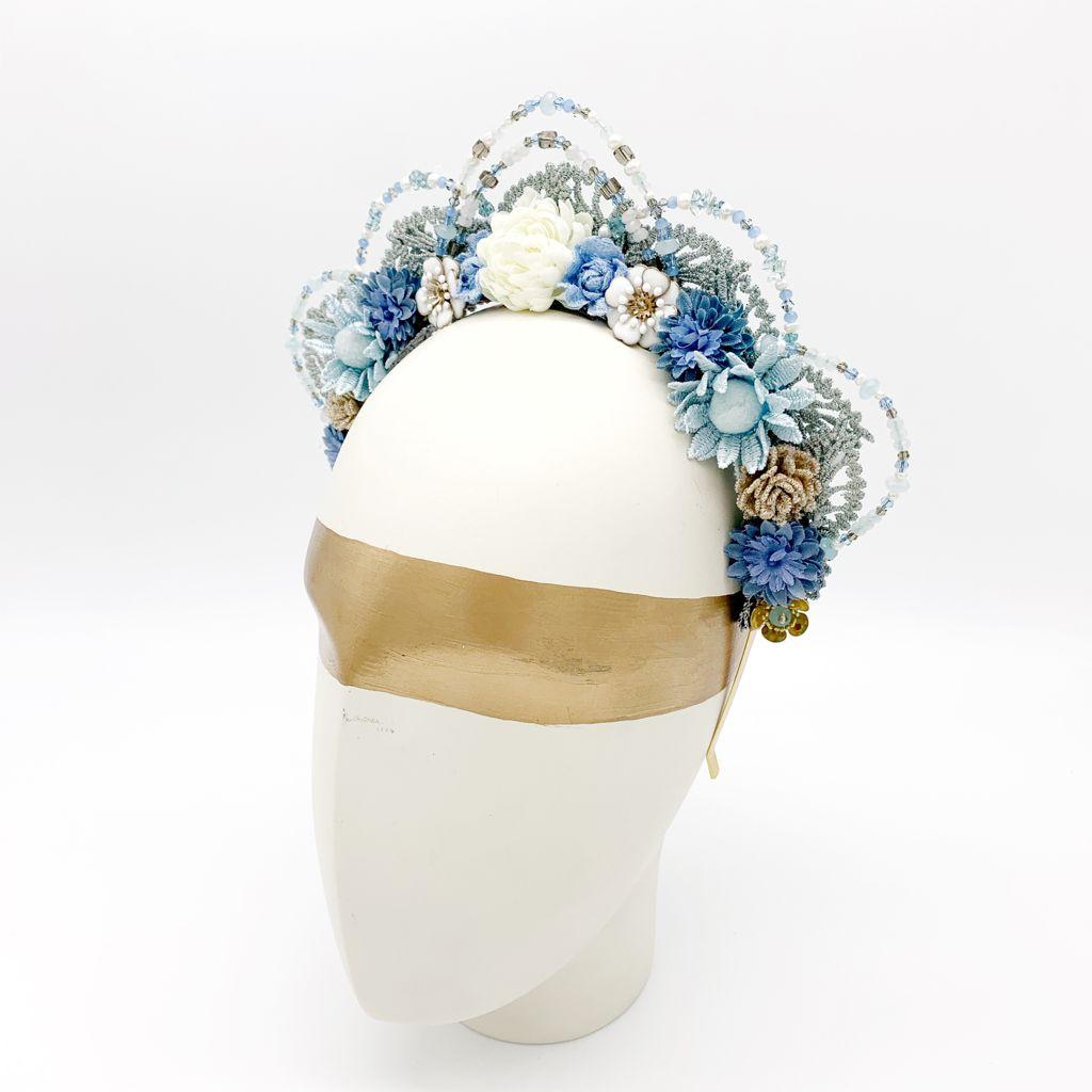 Something Blue Wedding Bride Crown Head Band Algo Azul Corona Flores Diadema